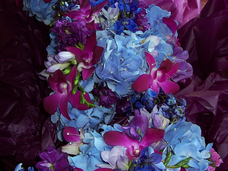 Blue and Purple Flower Bouquet- Wedding Flowers